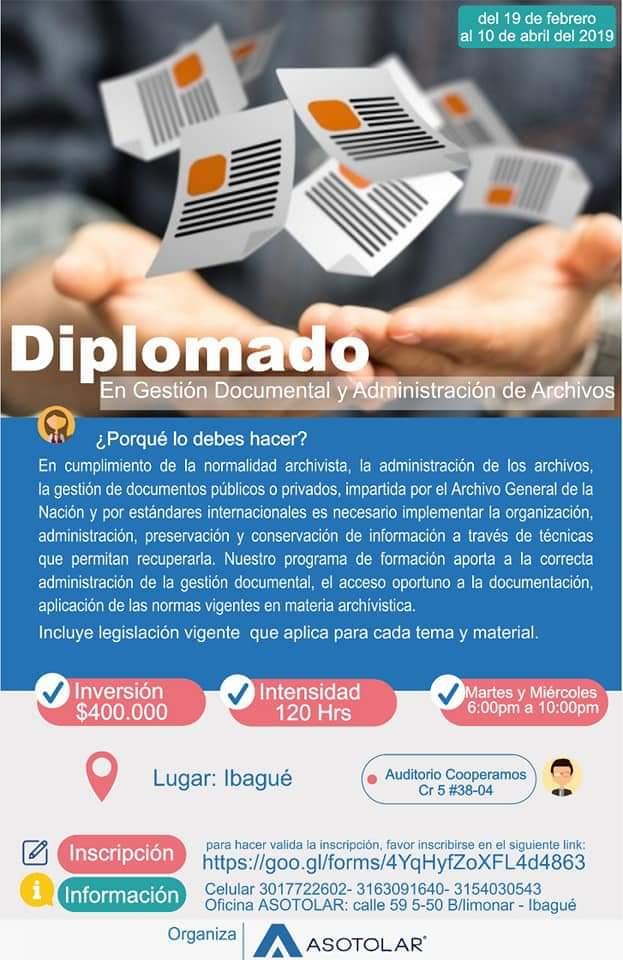 Diplomado En Gestión Documental y Administración de Archivos en Ibagué – Espinal.