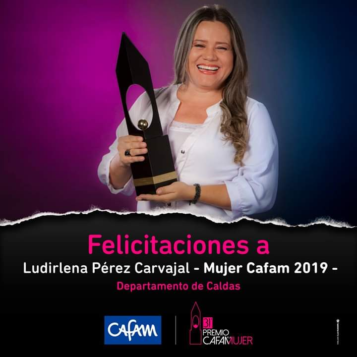 Ludirlena Pérez Carvajal Mujer Confa 2018-2019 fue proclamada como Mujer Cafam 2019.