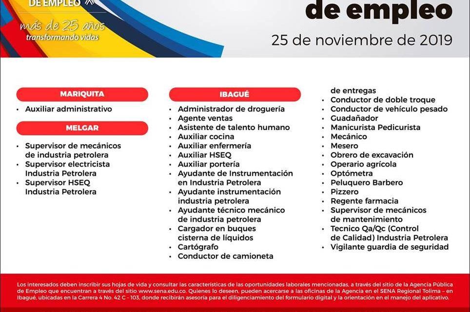 Ofertas laborales disponibles en la Agencia  Pública de Empleo del SENA Regional Tolima