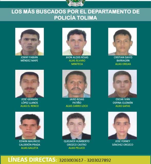 Cartel de 'los más buscados' en Tolima.