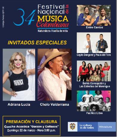 """Clausura del Festival se realizará el domingo 22 de marzo en la Concha Acústica """"Garzón y Collazos"""""""