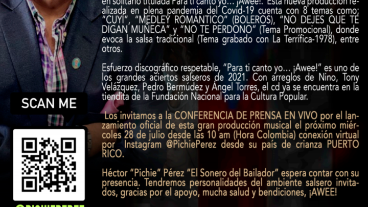 El Sonero del bailador PICHE PEREZ.